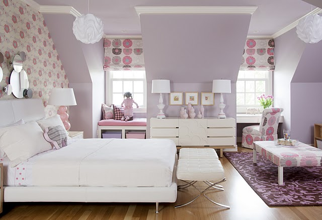 Came Across This Image Of A Little Girls Room Love The Soft Mauve Walls And Bold Wallpaper Fabric Used For Blinds Incorporating Bench Seat