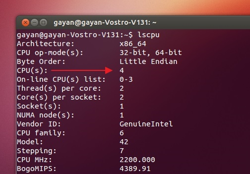 Using 'lscpu' to get certain CPU related details in Ubuntu