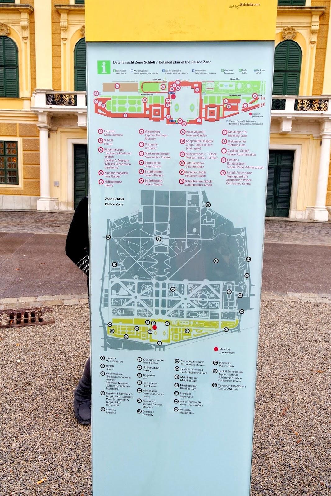 Map of Schonbrunn Palace Vienna Austria