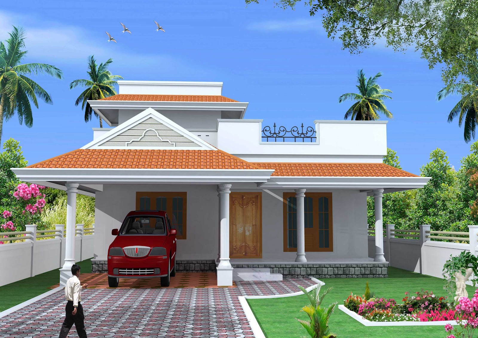 Green homes construction single floor 2bhk kerala house for Kerala single floor house images