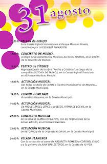 PROGRAMA DÍA 31 DE AGOSTO   Feria de San Agustín 2015  LINARES