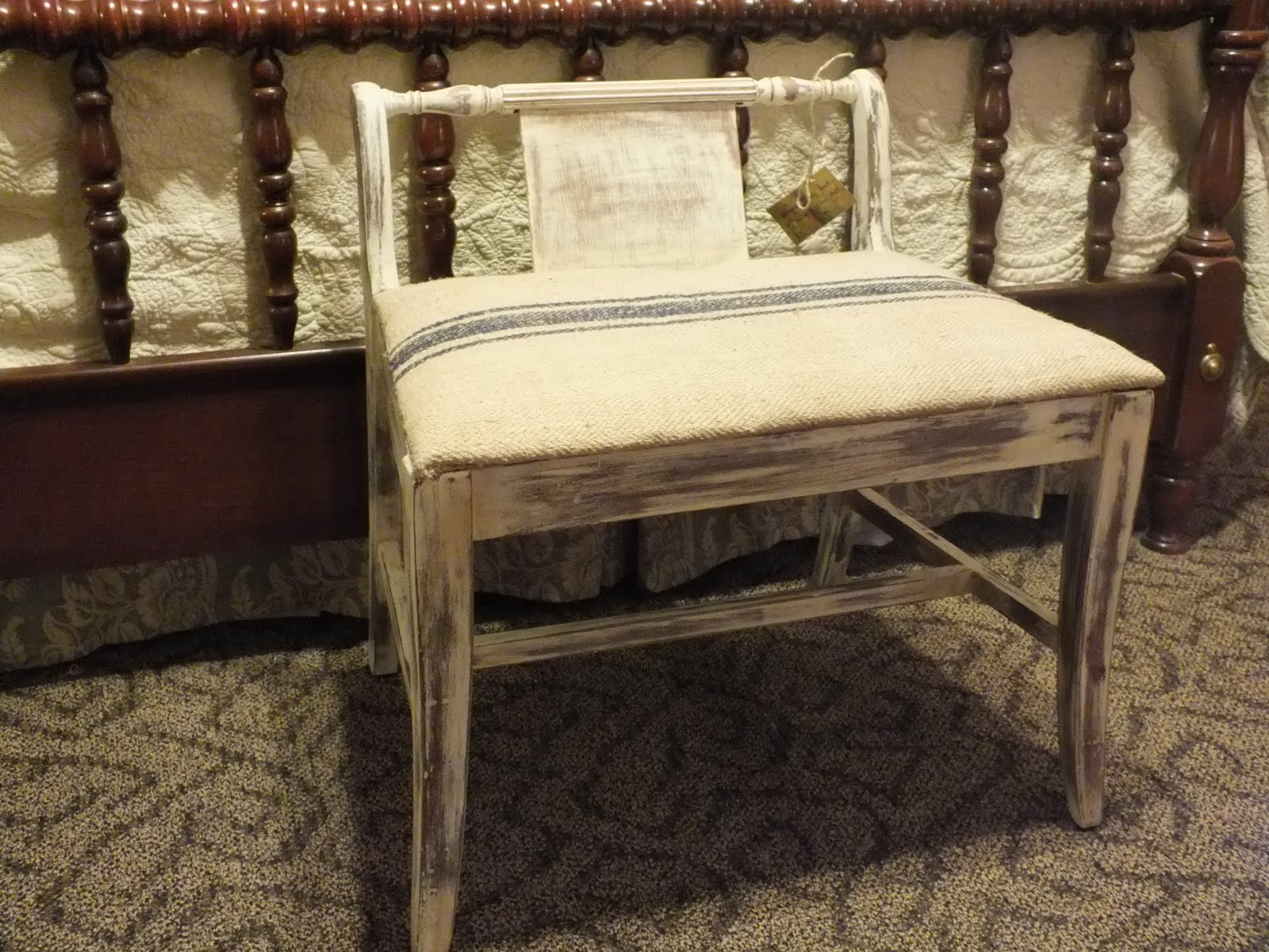 In my head I was thinking Annie Sloan Old White with heavy distressing  A  coat of clear wax with a tad  of dark Then re covered in a antique  grain sack Pine City Delight. Low Back Vanity Chair. Home Design Ideas
