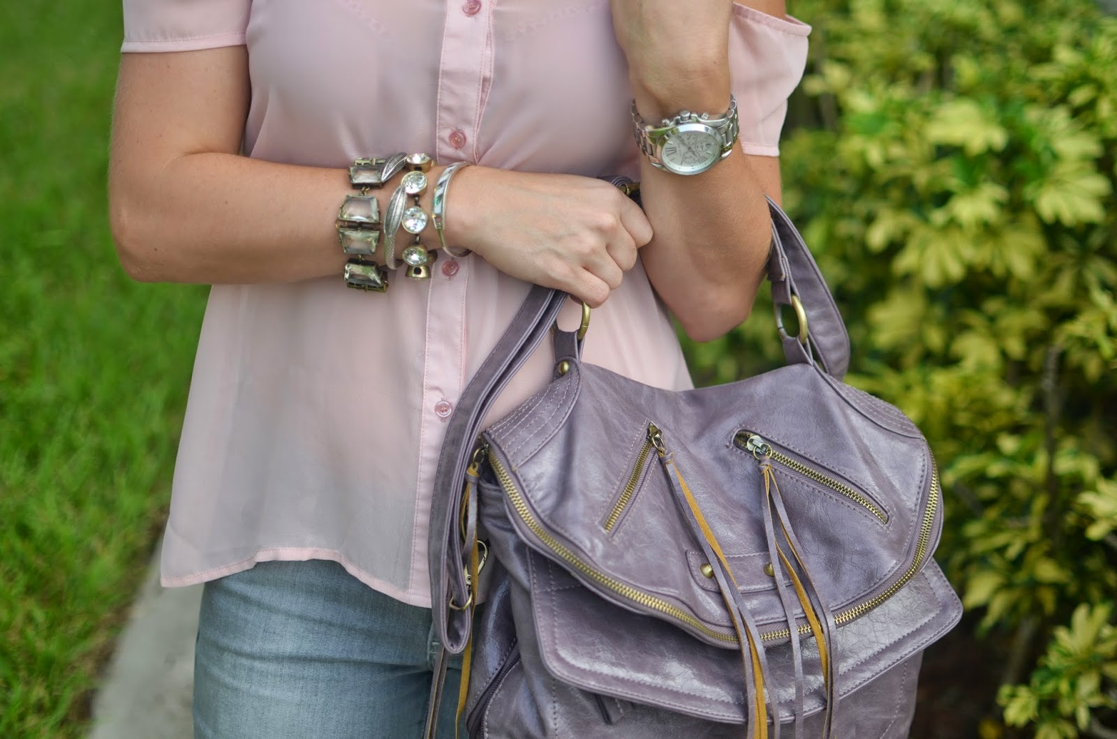 blush top - gray jeans - pink sandals - lavender bag - Emma & Sophia - arm party