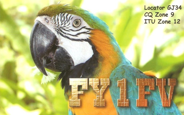 QSL - FY1FV - QSO Sat. SO50 - 16/05/2017 - French Guiana