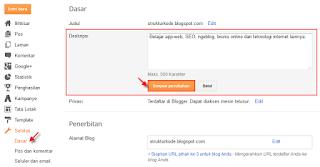 Cara mengaktifkan deskripsi penelusuran pada blog