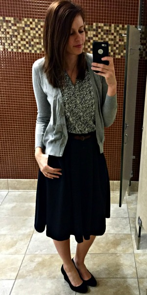 Pinspired Outfits Lately - Sleeveless blouse + grey cardi + midi skirt