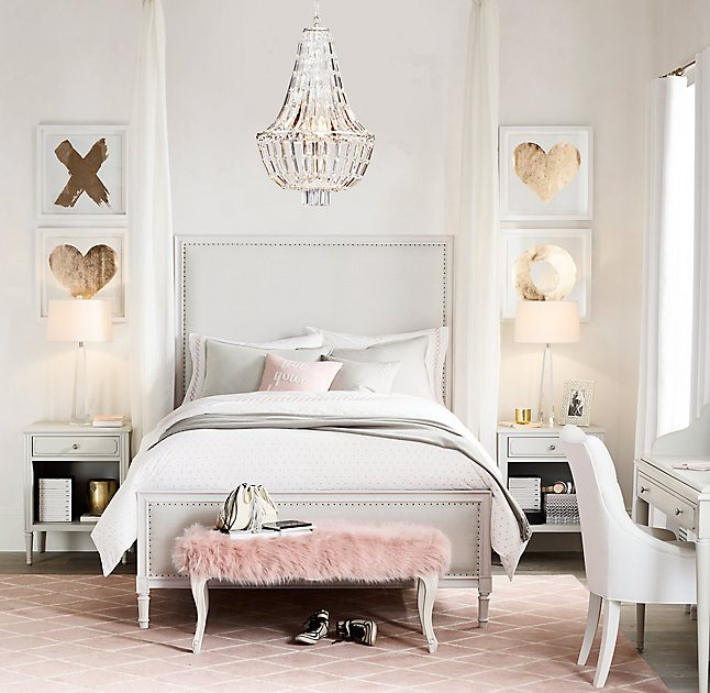 Inspiration daily cool chic style fashion - Pink and white teenage room ...