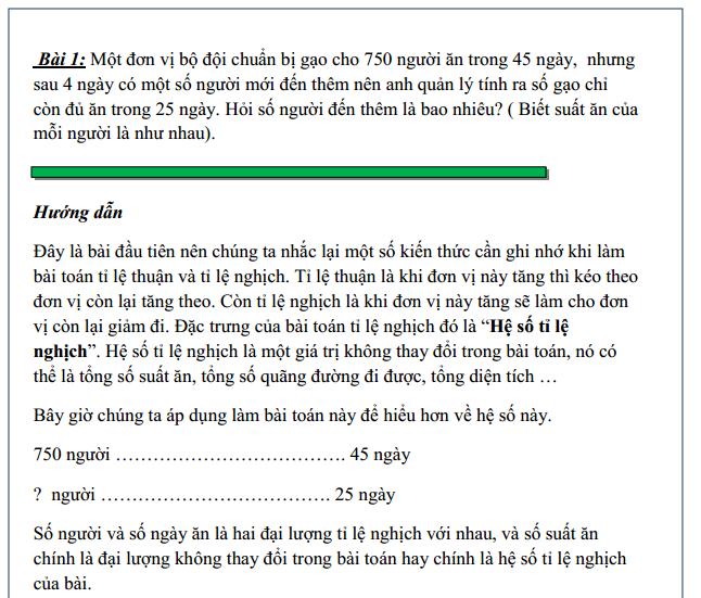 Các bài toán tỉ lệ nghịch hay gặp - toán lớp 5 nâng cao - Tiết 3