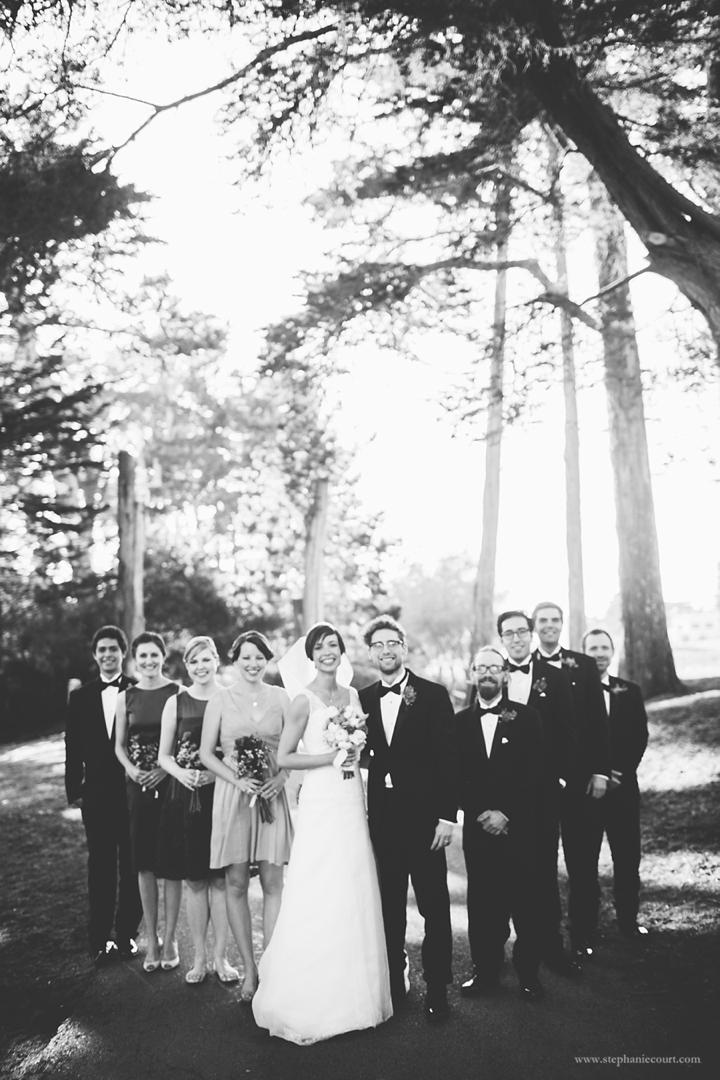 """wedding party photo in San Francisco park"""