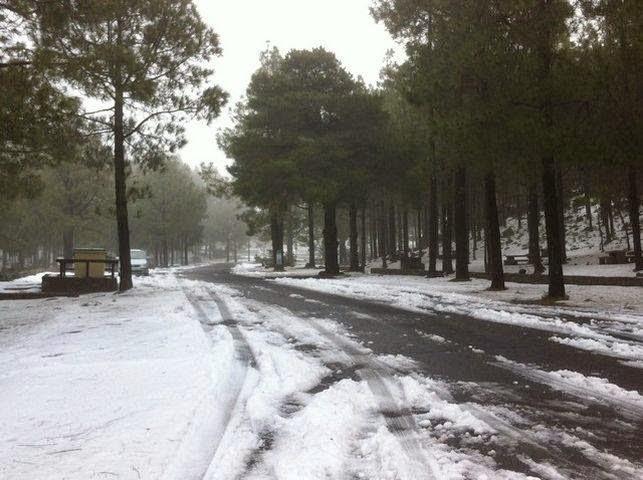 nieva en la cumbre de Gran canaria febrero 2015