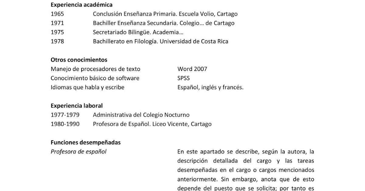 Hacer Curriculum Vitae Costa Rica Help In Writing My Essay