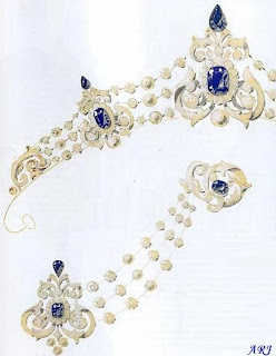 The original sapphire version of the parure