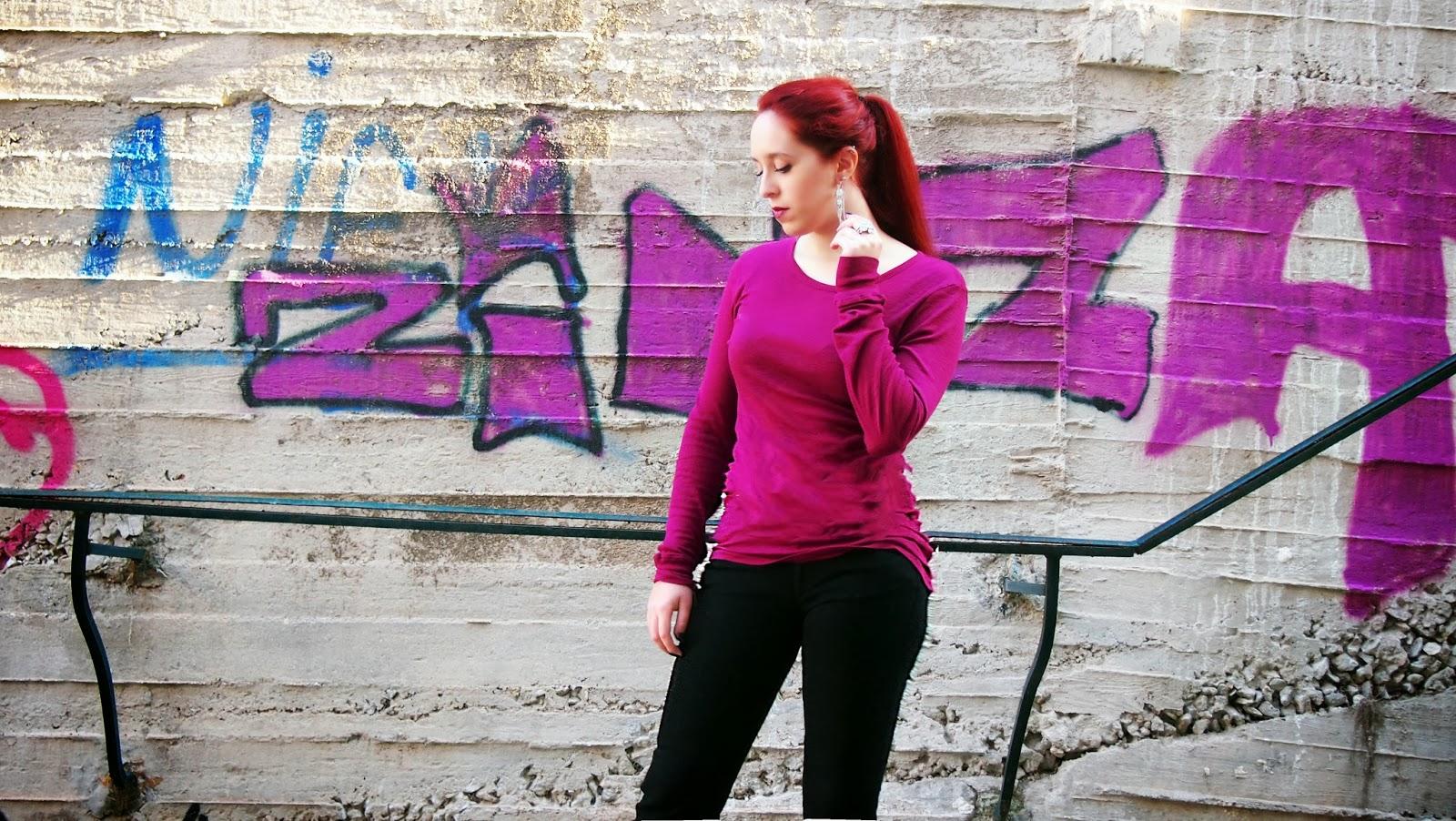 Anna ,Keni,redhead, spotlights on the redhead,fashion,model,blogger,  migato, clothes, outfit, Dyrberg, Kern, Dyrberg Kern, Purple, American Vintage, Wrangler, Ne me réveillé pas, Mirage, closeups, photoshoot,