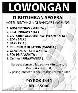 Lowongan Pekerjaan Hotel Bandung 2015