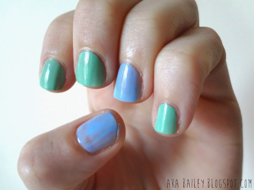 Blue and mint pastel nail polishes