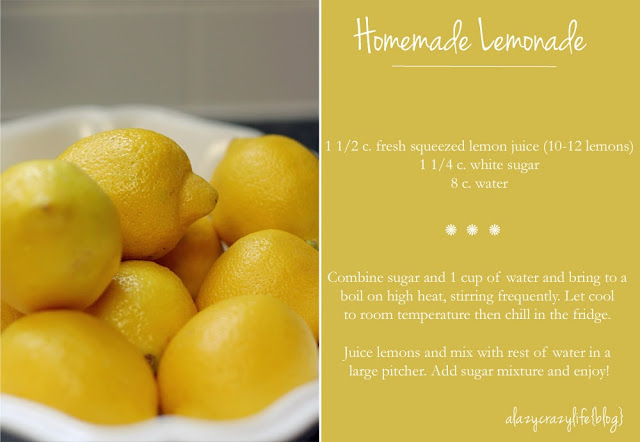 Homemade Lemonade {A Lazy Crazy Life blog}