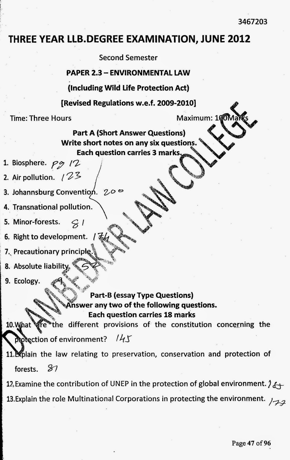 lawdetails pot in semester environmental law s v environmental law 3 year llb 2012 page 1