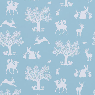 Hibou Home | Children's Wallpaper | Enchanted Wood | Duck Egg Blue/White