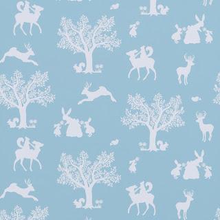 Hibou Home | Children's Wallpaper | Enchanted Wood | Duck Egg Blue/White