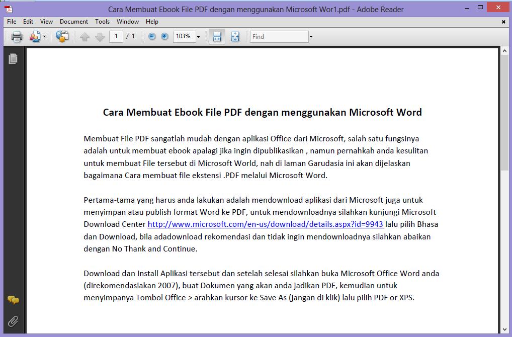 Berhasil menyimpan kedalam bentuk PDF