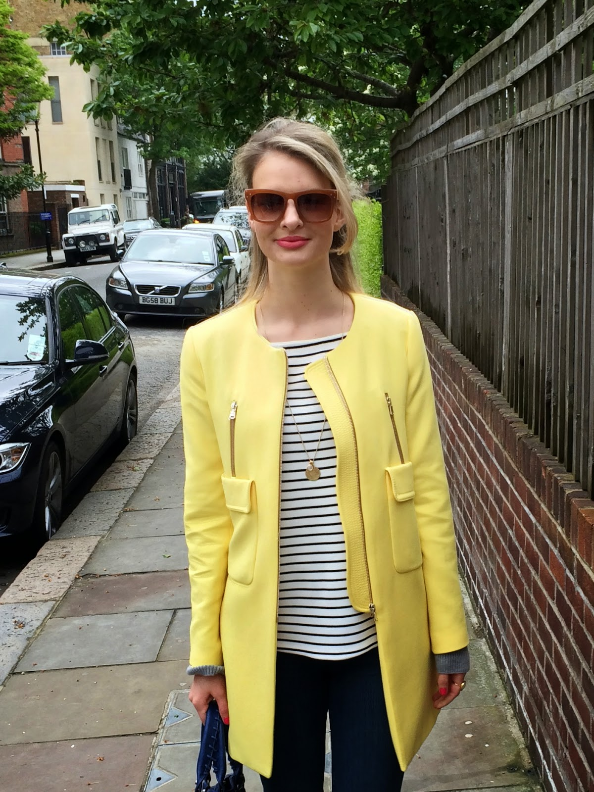 yellow coat, stripes, striped shirt, zara sunglasses, pink lipstick, look book, fashion blogger, modeblogger