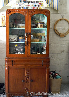 Studio-- antique hutch for storing beads and supplies.