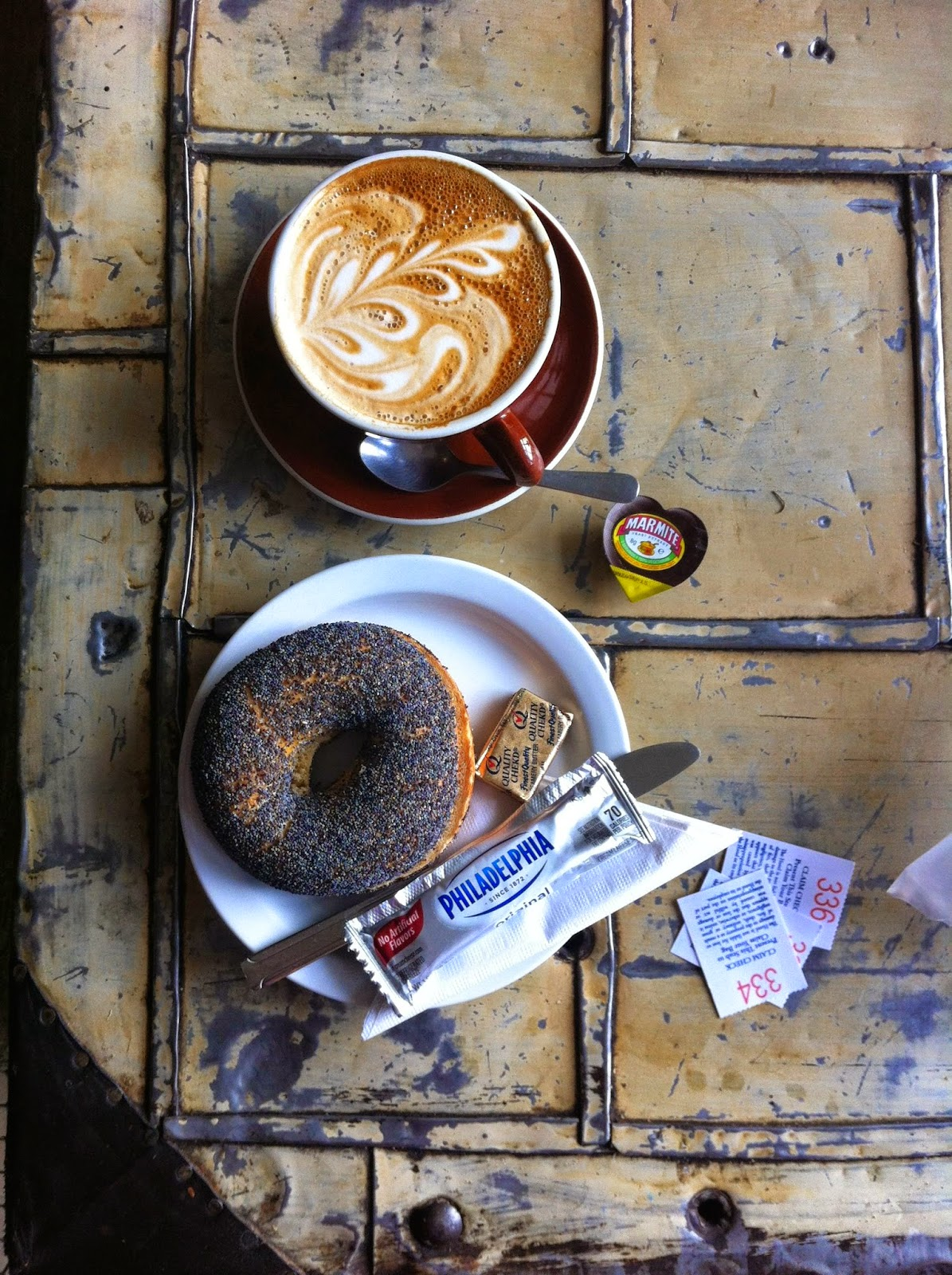 Stumptown cappuccino, bagel, marmite, Portland