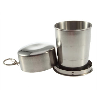 Mini Stainless Steel Portable Folding Collapsible Travel Cup 150ml with Clip HS
