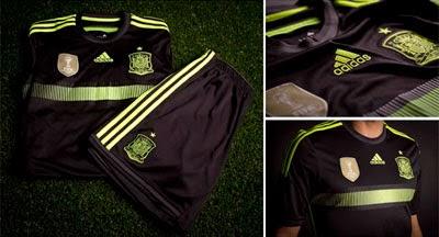 segunda equipación de España negra mundial Brasil 2014