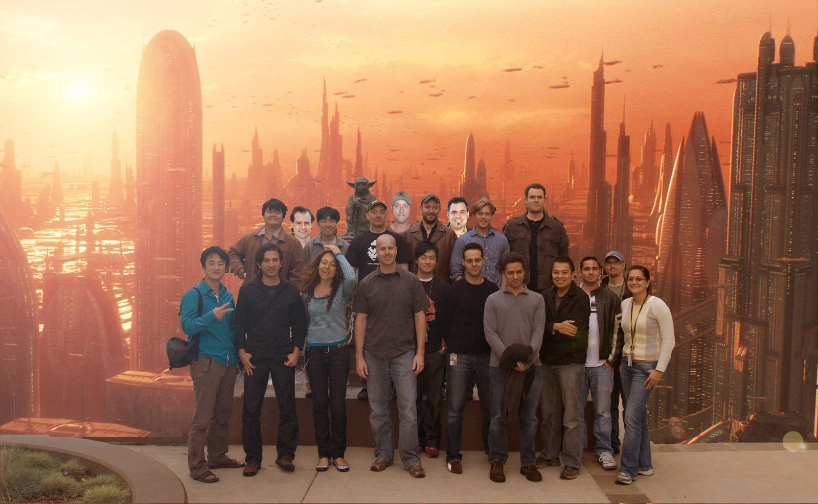 Mirena Rhee & Star Wars artists at Lucasfilm – with Yoda