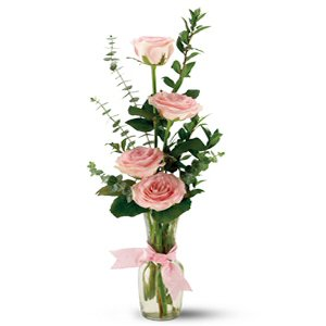 Send Four Roses in A Bud Vase