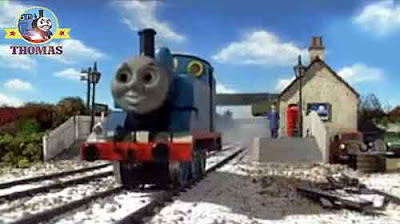 Thomas the train engine Emerald Emily the beautiful engine excited to take children to toyshop store