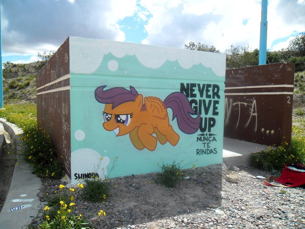 Ponypics Mayhem! Never_give_up_scootaloo_graffiti_by_shinodage-d5xunyu