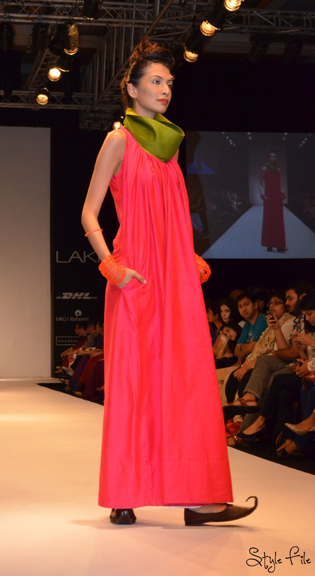 lakme fashion week payal khandwala pink green orange
