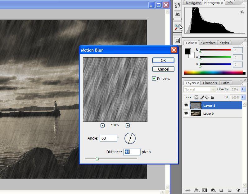 Photoshop Tutorials-Create rain effect free