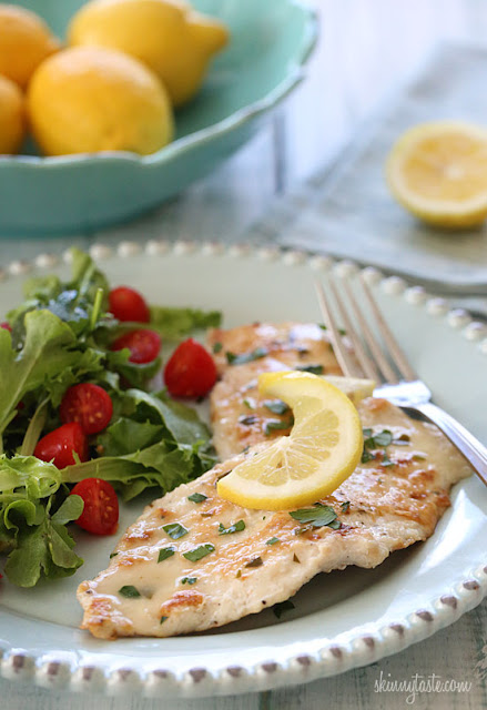 Low fat chicken breast in a light white wine lemon sauce.