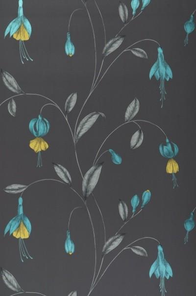 Papier Peint Turquoise Et Gris - Papier peint design argenté Jack Chantemur