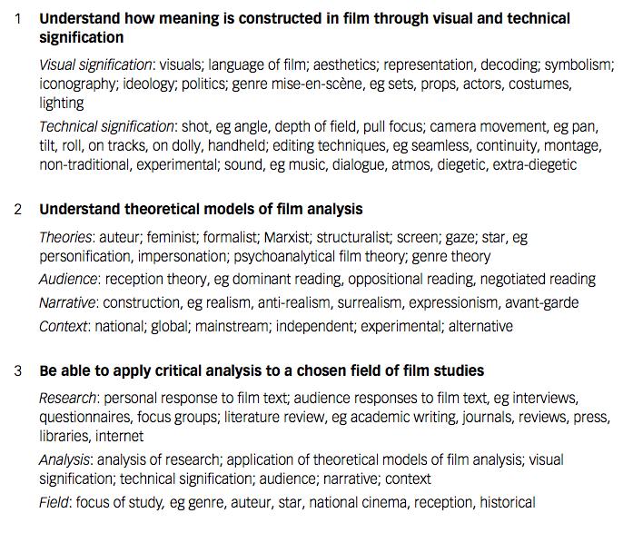 hnc creative media production moving image key terminology to