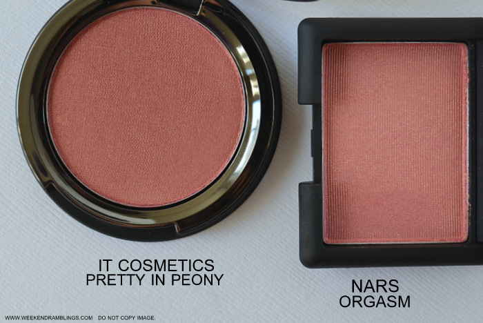 NARS Orgasm It Cosmetics Pretty in Peony Makeup Dupes Best Peachy Pink Blush for Indian Darker Skin Swatches Beauty Blog