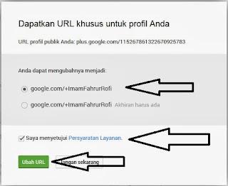 Konfirmasi Perubahan URL Profil Google+