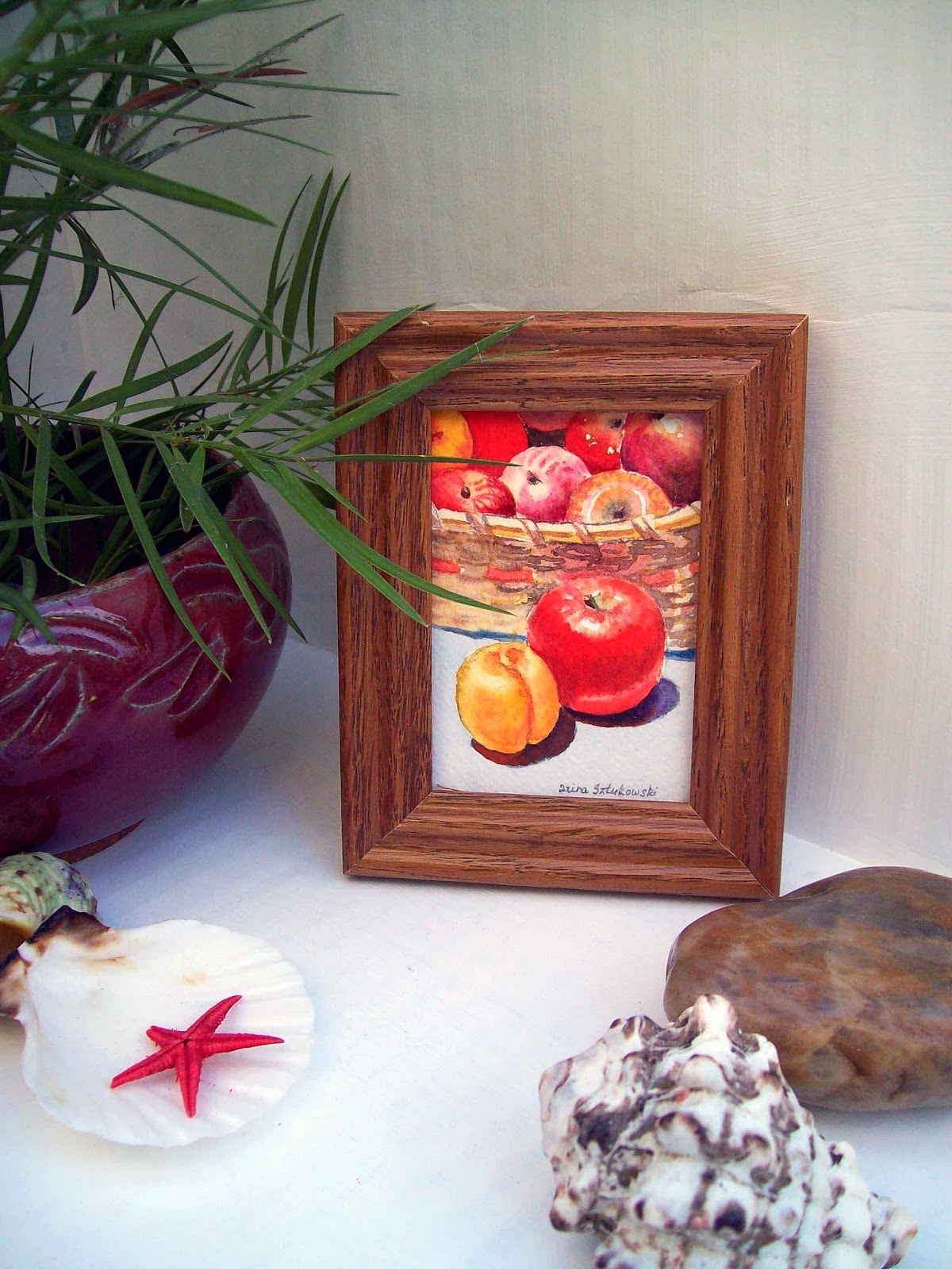 miniature painting of fruits