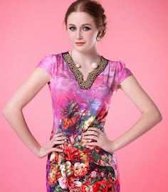 Gold Sequin Floral Print Collar Ice Silk Slim Dress