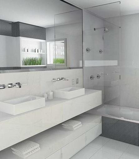 ARQUITETANDO BANHEIROS E LAVABOS  parte 1 -> Banheiro Pequeno Com Banheira E Chuveiro Juntos