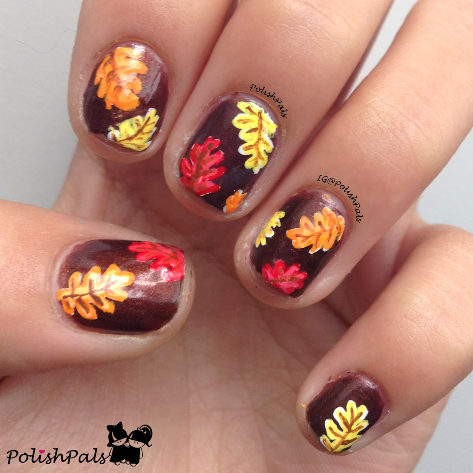 Thatleanne Firey Autumn Leaves Nail Art: Polish Pals: I'm Fine With Fall