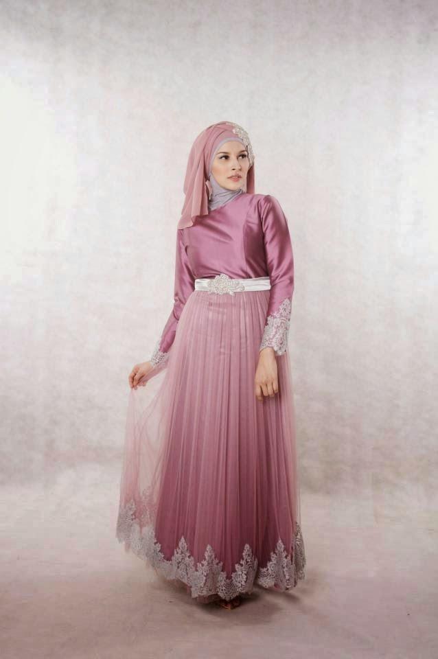 contoh desain baju pesta muslimah