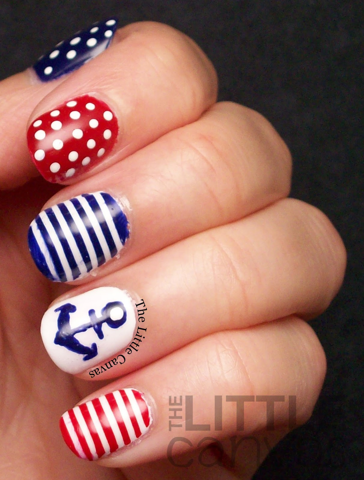 Twinsie Tuesday: Stripes: Nautical Nail Art - The Little Canvas