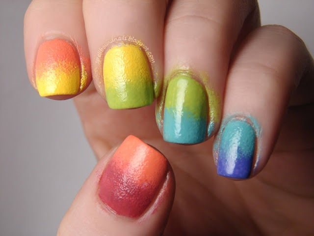nails nailart nail art polish mani manicure Spellbound Lacquer fun cute sweet rainbow gradient eyeshadow applicator sponge sponged sponging red orange yellow green blue purple colorful