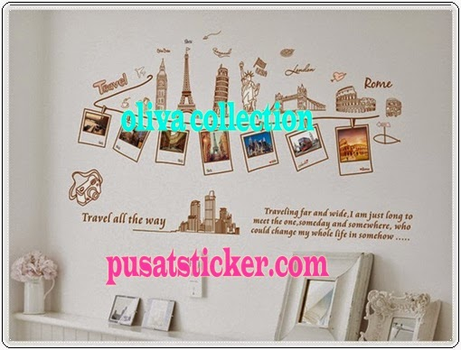 jual wall sticker model travel all the way - olivacollection