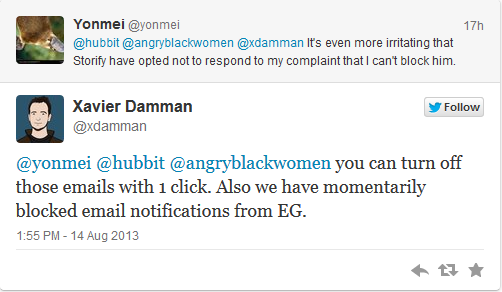 @xdamman [replying to @yonmei]: you can turn off those emails with 1 click. Also we have momentarily blocked email notifications from EG.