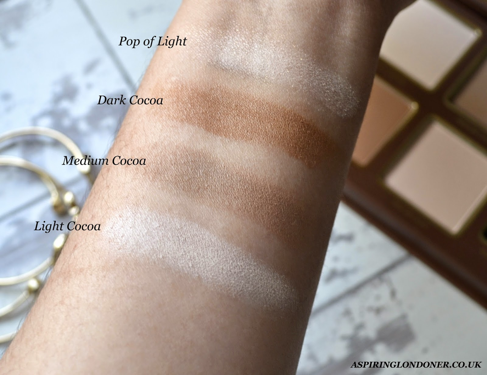Too Faced Cocoa Contour Palette Swatch - Aspiring Londoner